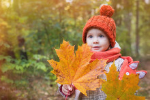 Cute Baby In Autumn Clothes. C...