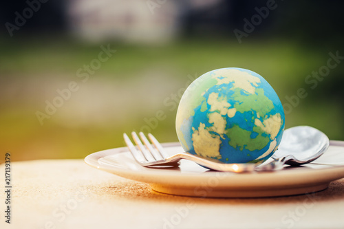 Fototapeta Globe model placed on plate with fork spoon for serve menu in famous hotels. International cuisine is practiced around the world often associated with specific region country. World food inter concept obraz