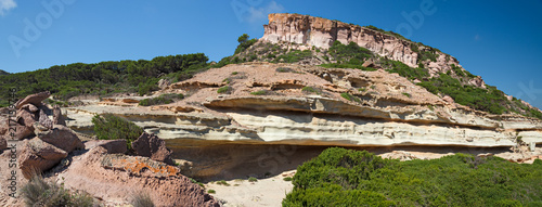 """""""Il Pulpito"""" is a rock castle that overlooks the Mediterranean scrubland on the island of San Pietro, in Sardinia, Italy Fototapeta"""