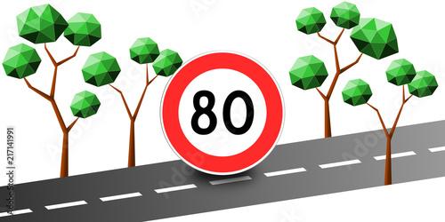 Fotografía  Limitation Vitesse 80 km/h