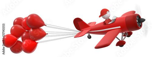 Photo 3D Illustration Männchen im roten Flieger