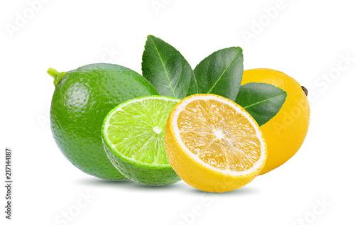 lime and lemon on white background Fototapeta