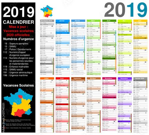 Calendrier Avec Numero Semaine.Vacances 2020 Officielles Calendrier 2019 Sur 14 Mois