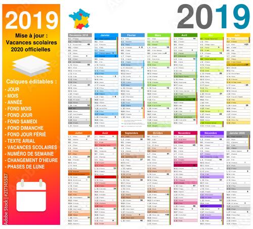 Calendrier Semaines 2020.Vacances 2020 Officielles Calendrier 2019 Sur 14 Mois