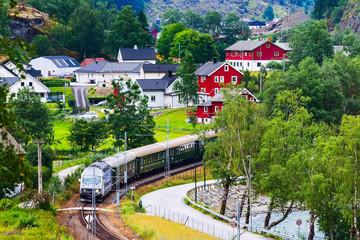 Flam, Norway Myrdal train in Norwegian village near Sognefjord fjord, local landmark