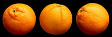 Group Of Fresh Delicious Oranges Fruit Isolated On Black Background