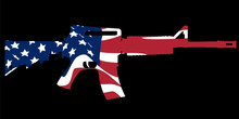 Assault Rifle And Flag