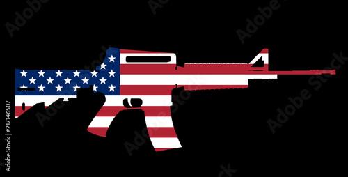 Obraz na plátně assault rifle and flag