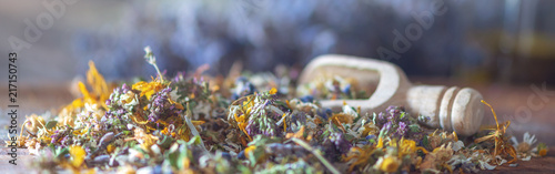 Tablou Canvas Banner for homeopathy: close up of dryed herbs and blooms