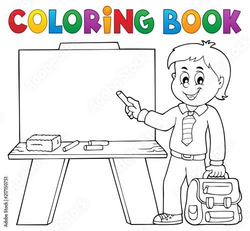 Poster Voor kinderen Coloring book happy pupil boy theme 4