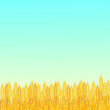 Summer Sunny Landscape With A Field Of Ripe Wheat Gradient Flat Style Design Vector Illustration. Beautiful Background For Your Needs. Sunny Day In The Wheat Field.
