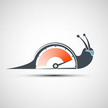 Logo Snail With A Power Arrow. Icon Sports Stopwatch Or Speedometer