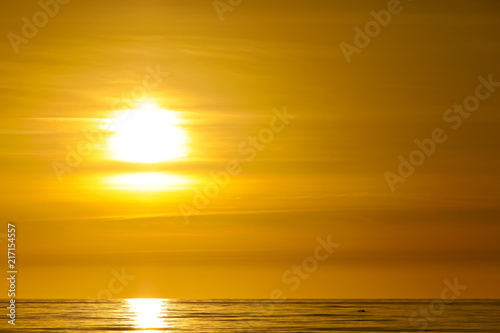 Fototapety, obrazy: The sun is setting over the Baltic Sea in Poland