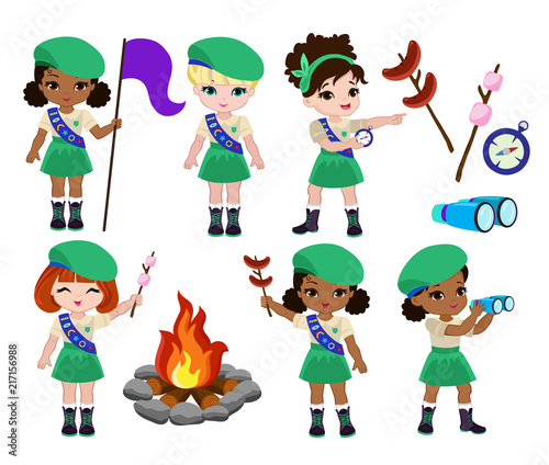 Fotografía Collection of girls scouts camping outfit, summer camp activities