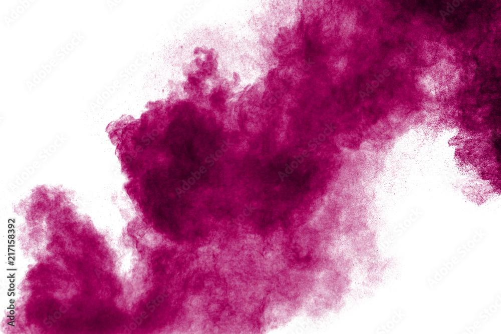 Fototapeta Pink powder explosion isolated on white background.