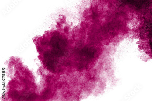 Obraz Pink powder explosion isolated on white background. - fototapety do salonu