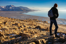 A Young Man Hiking On Antelope Island On The Shore Of Great Salt Lake, UT