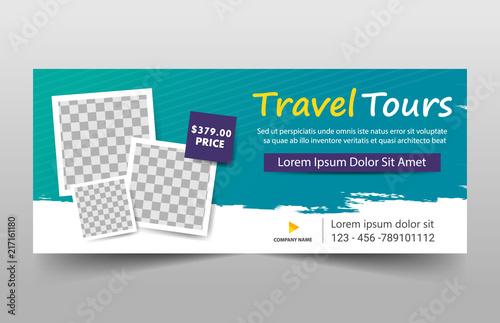 Green Square Travel tour corporate business banner template, horizontal advertis Fototapeta