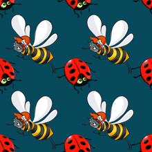 Ladybug And Bee Seamless Pattern