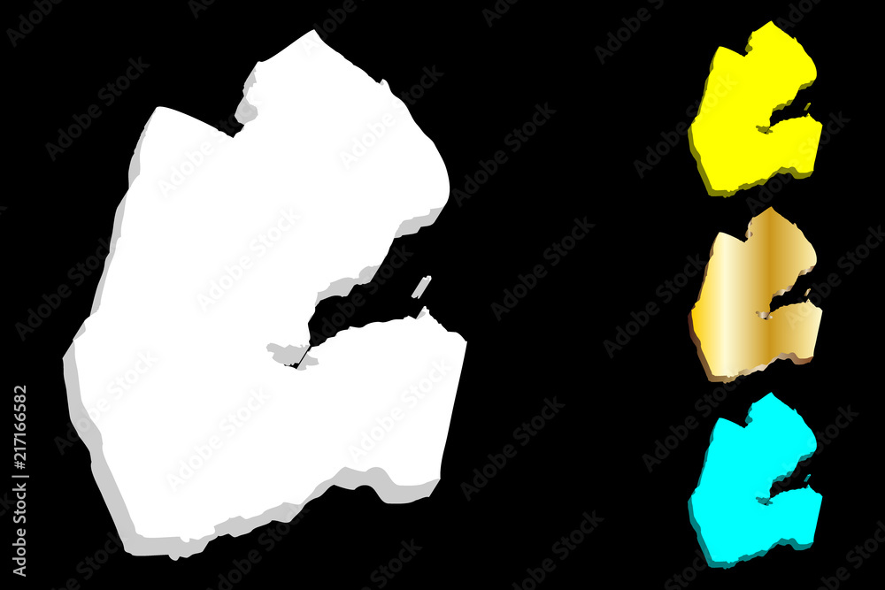 3D map of Djibouti (Republic of Djibouti, Horn of Africa ...