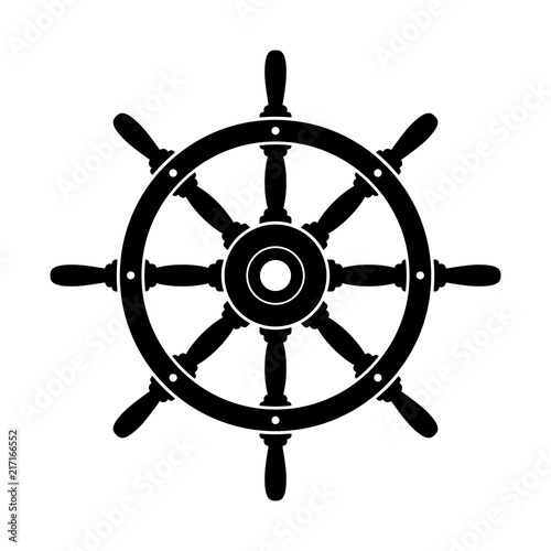 фотография Black rudder vector icon on white background