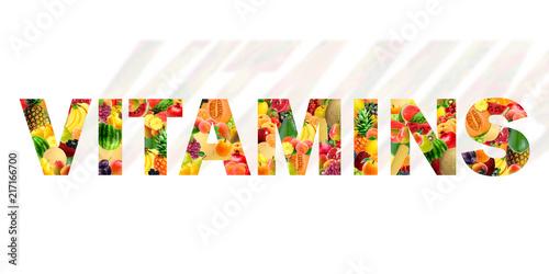 Tela A palavra Vitaminas feita com os mais variados frutos