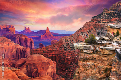 Spoed Foto op Canvas Bordeaux Grand canyon Arizona sunset
