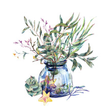 Watercolor Glass  Jar With Bou...