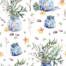 Watercolor Seamless Pattern With Glass  Jar And Green Leaves