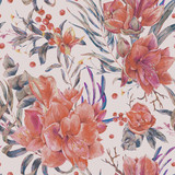 Watercolor shabby floral seamless pattern of red flowers - 217170940