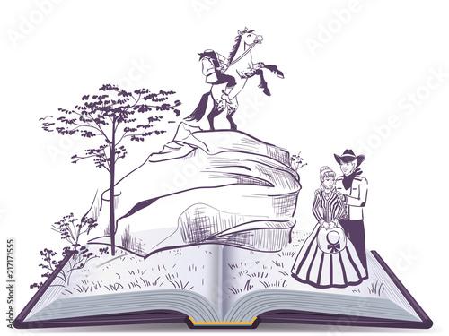 Printed kitchen splashbacks Castle Headless horseman open page book vector illustration