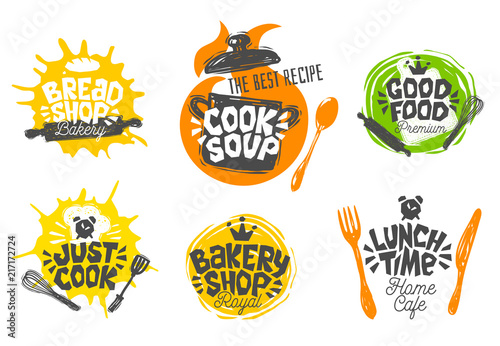 Fototapeta Sketch style cooking lettering icons set. For badges, labels, logo, bread shop, bakery, street festival, farmers market, country fair, shop, kitchen classes,. Hand drawn vector illustration. obraz