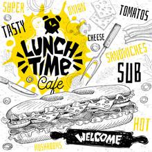 Lunch Time Cafe Restaurant Men...