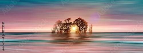 Foto op Plexiglas Zalm 3D illustration. Beautiful landscape during sunset.