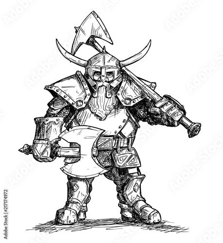 Photo Vector artistic pen and ink doodle drawing illustration of fantasy dwarf warrior in horned helmet and heavy armor and holding two axes