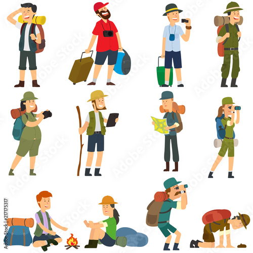 5866988 People with backpacks are hiking. Wall mural