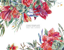 Watercolor Floral Template Card Of Red Flowers, Amaryllis