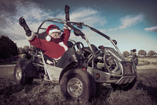 Happy Santa Claus Goes To Buggy.