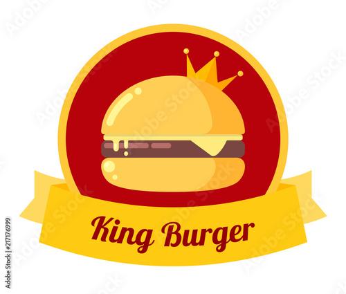 King burger illustration. Vector cheeseburger with crown. Dlicious fresh burger icon. Menu concept.