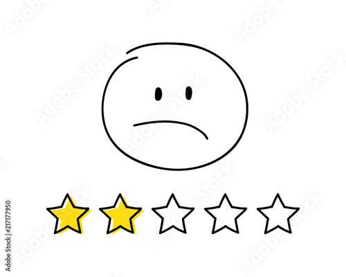 Foto op Canvas Cars Rating icon - two stars. White coloured happy stickman. Vector.
