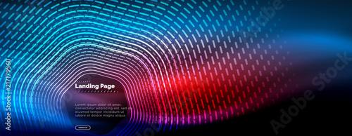 Fotografering  Neon glowing techno hexagon shape lines, hi-tech futuristic abstract background,
