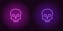 Human Neon Skull In Purple And Violet Color