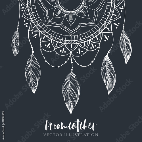 Photo sur Aluminium Style Boho Dreamcatcher with feathers and branches. Sweet dream. Native American Indian talisman. Vector hand drawn illustration. Boho design, tattoo art.