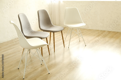 Group Therapy Counseling For Addicts U0026 Alcoholics Concept. Multiple Loft  Style Empty Chairs, White