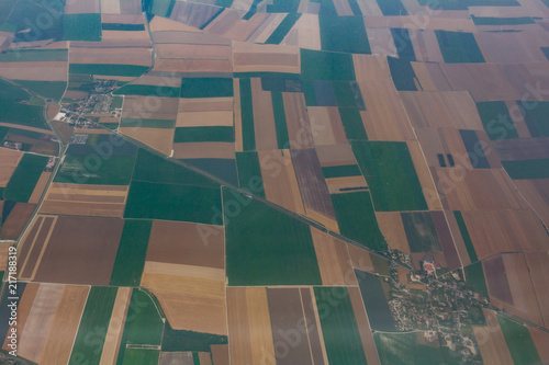 Foto op Aluminium Luchtfoto Arial Photo of Colorful Fields