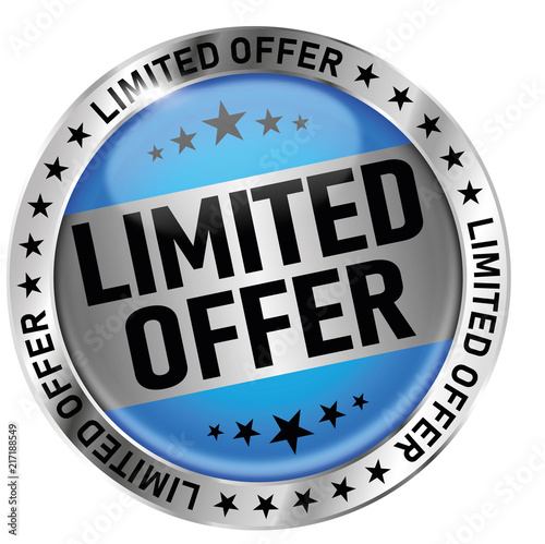 Fotografía blue limited offer round glossy medal icon seal badge