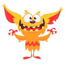 Happy Cartoon Orange Monster. Halloween Vector Illustration Of Excited Troll Or Gremlin Character