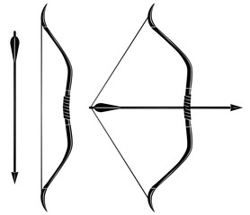 Bow and arrow icon vector. Stretched bow.
