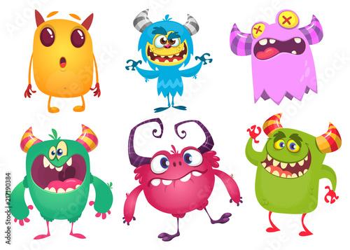 Foto op Canvas Schepselen Cartoon Monsters. Vector set of cartoon monsters isolated. Design for print, party decoration, t-shirt, illustration, logo, emblem or sticker