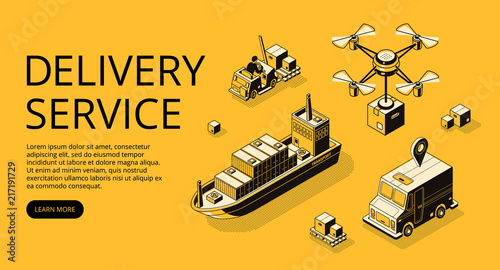 Fényképezés  Delivery service transport vector illustration of air freight, ship cargo or drone and truck with parcel boxes